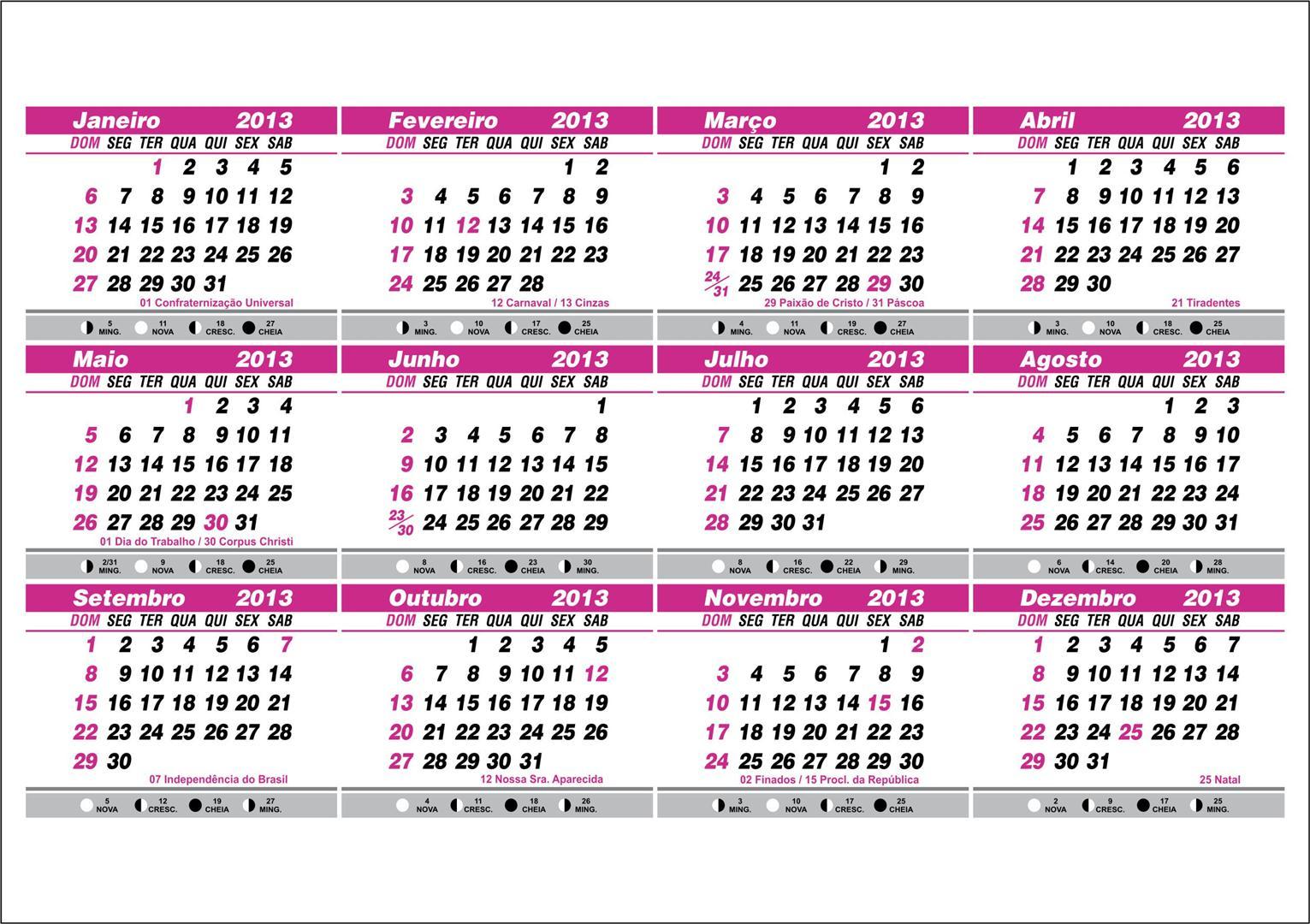 Calendário 2013 com datas comemorativas e fases da lua
