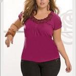 modelo de blusa plus size vermelho
