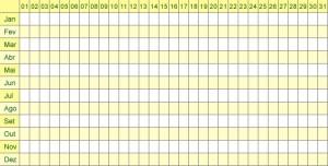 Tabela Menstrual 2013 para imprimir - 4