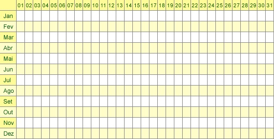 Tabela Menstrual 2013 para imprimir – 4
