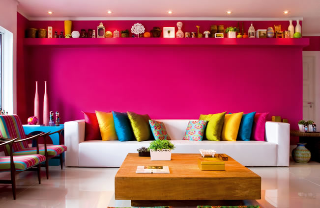 Decoração barata e colorida para sala Vale o Clique! ~ Quarto Rosa Fucsia