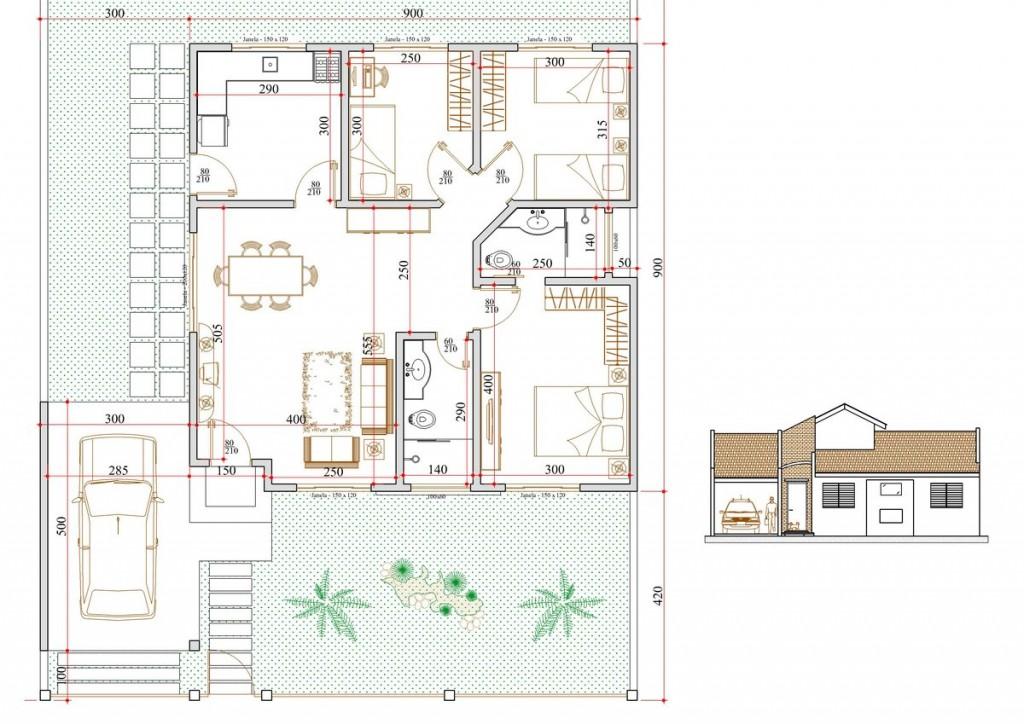Planta casa de 3 quartos e garagem