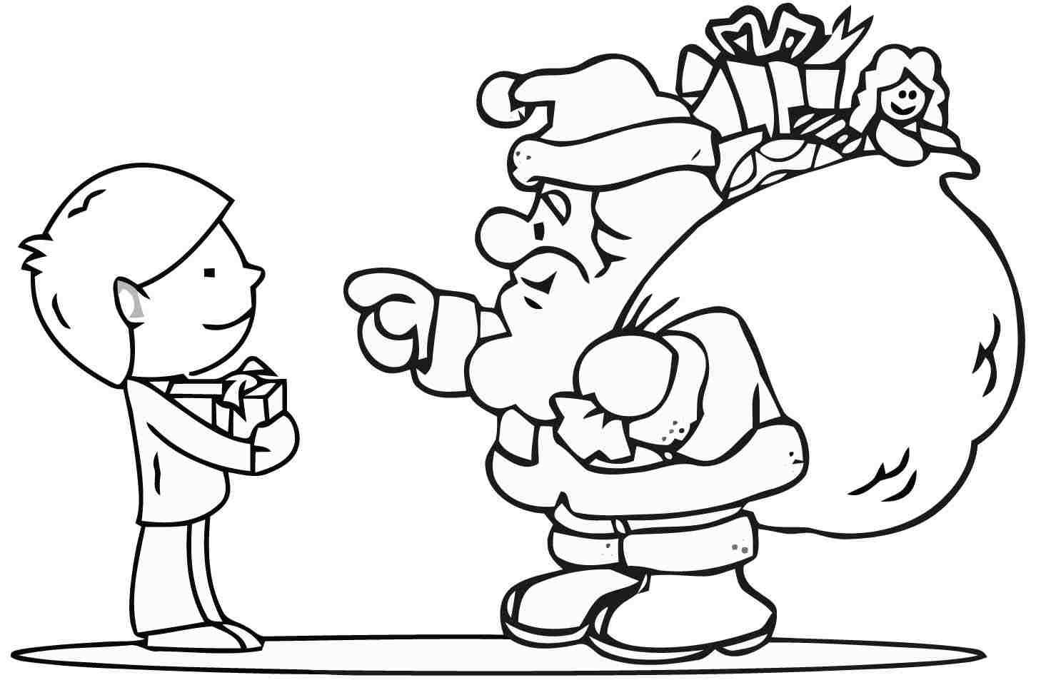 Papai Noel Com Crianca Para Colorir