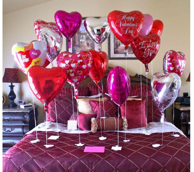 Decoração quarto Dia dos Namorados com balões  Vale o Clique!