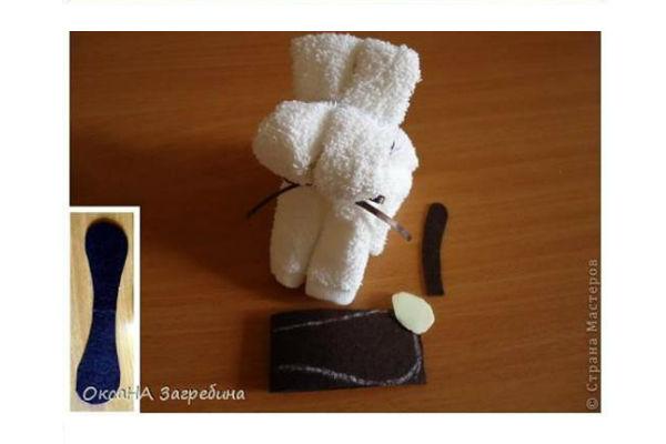 Cachorrinho de toalha passo 6