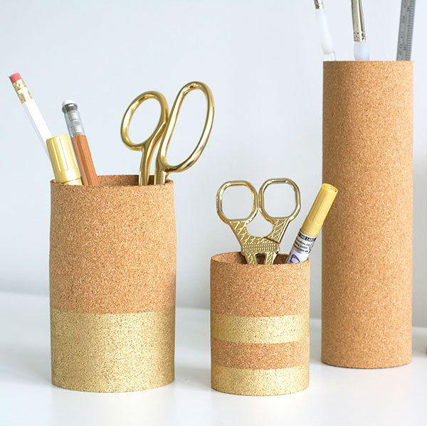 Artesanato Garrafas De Vidro Recicladas ~ Artesanato com folhas de cortiça passo a passo