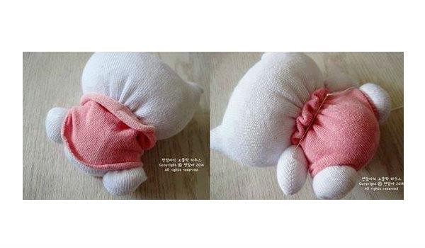 Hello Kitty feita de meia passo 4