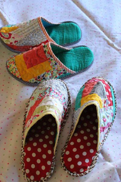 Pantufa de patchwork é diferente, mas muito confortável (Foto: lavidamismajojojo.blogspot.com.ar)