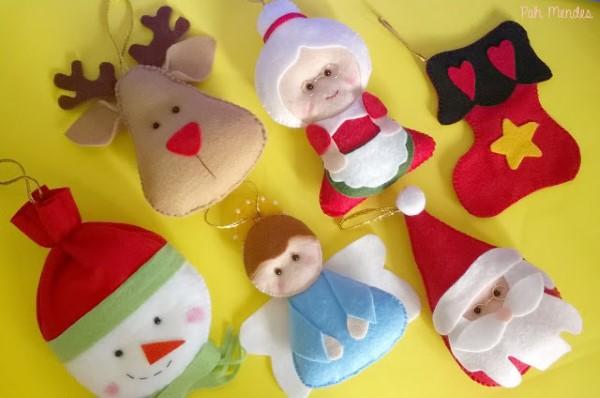 enfeites natalinos com feltro