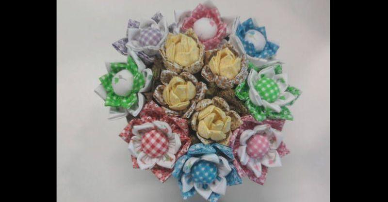 flores com tecido pontudas