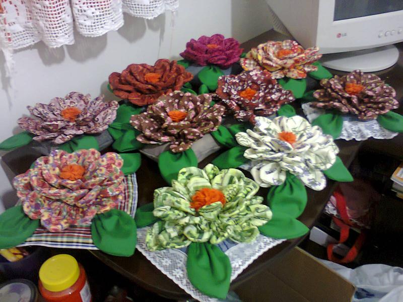 flores com tecido