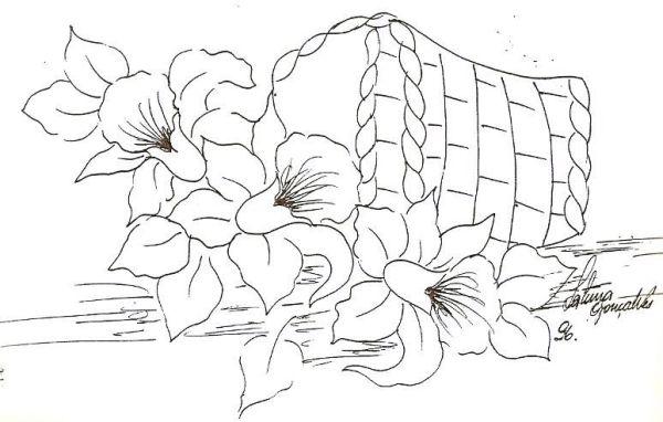 risco de cesta flores