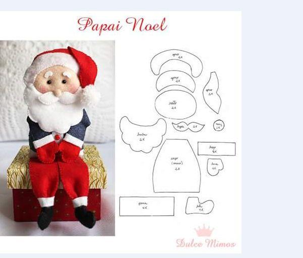 Papai Noel De Feltro Moldes E Modelos