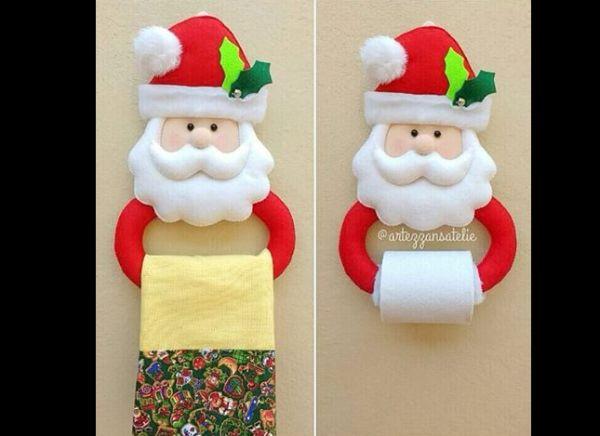 papai noel feltro porta rolo de papel higienico