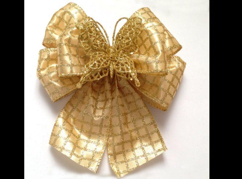 laço natalino dourado