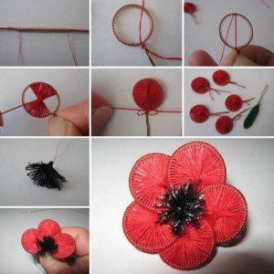 artesanato com linha flor