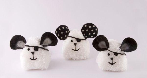 pompom com lã rato