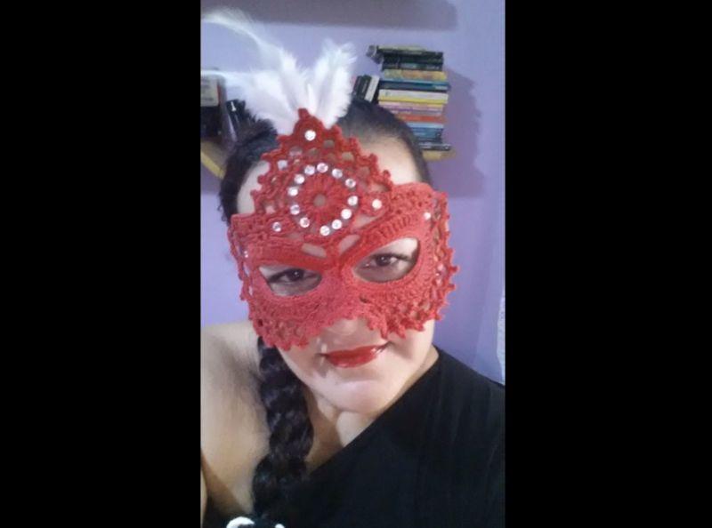 mascara de carnaval com croche
