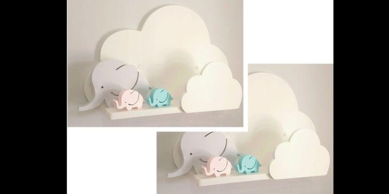 prateleira para quarto de bebe fofinha