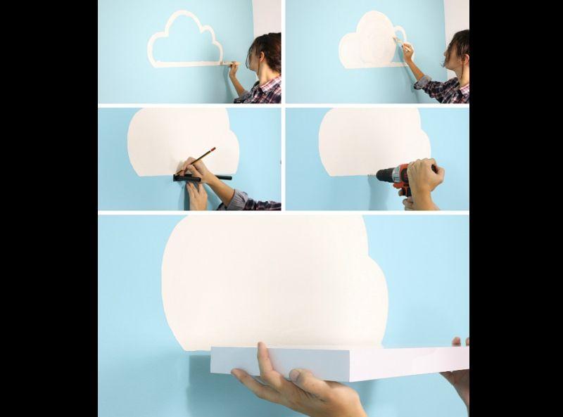prateleira para quarto de bebe nuvem