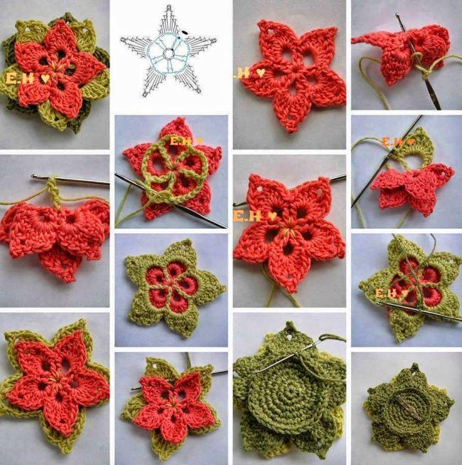 flor de croche com folha 4