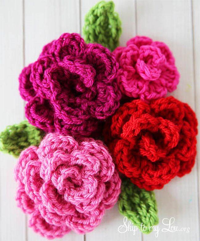 flor de croche rosa 13