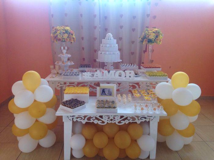casamento cortina de coração amarela 5