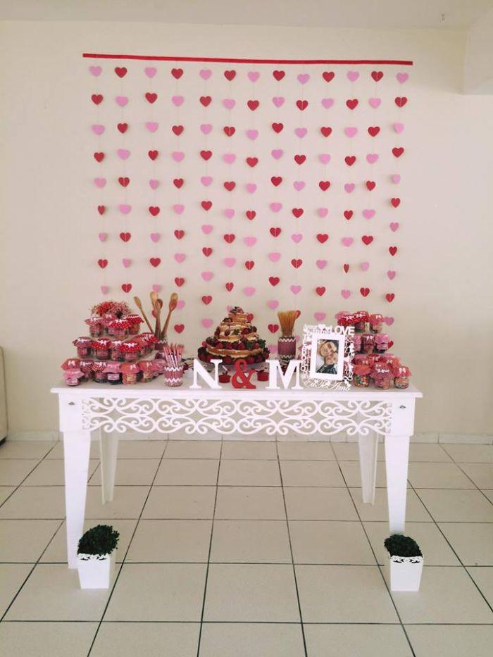 casamento cortina de coração rosa 4