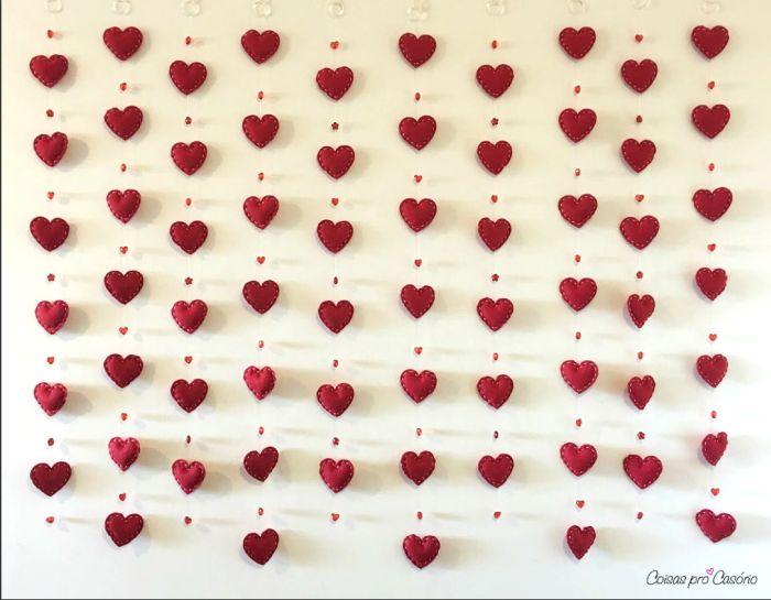 feltro cortina de coração recheado 19