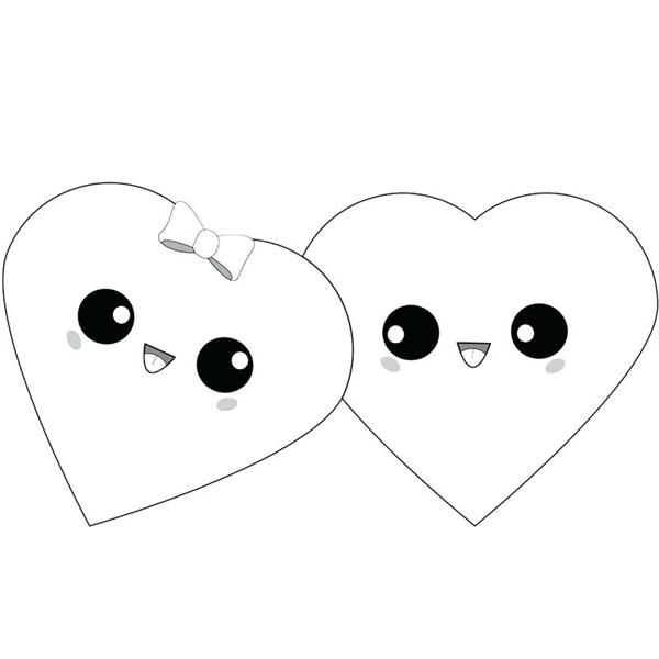 desenhos kawaii de corações