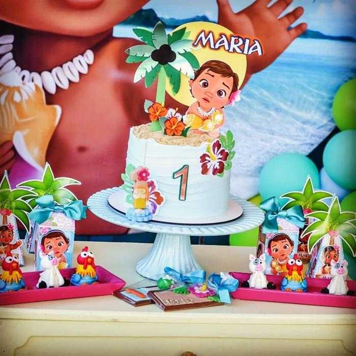 mesa decorada festa moana