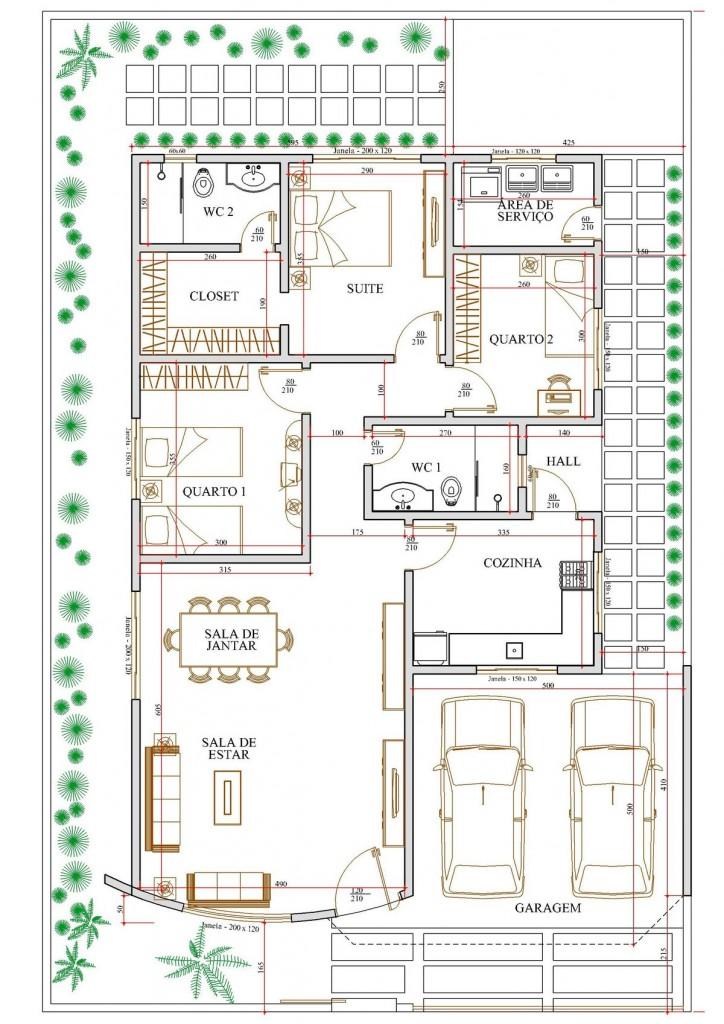 Plantas de casas de 3 quartos com garagem - Plantas para casa ...