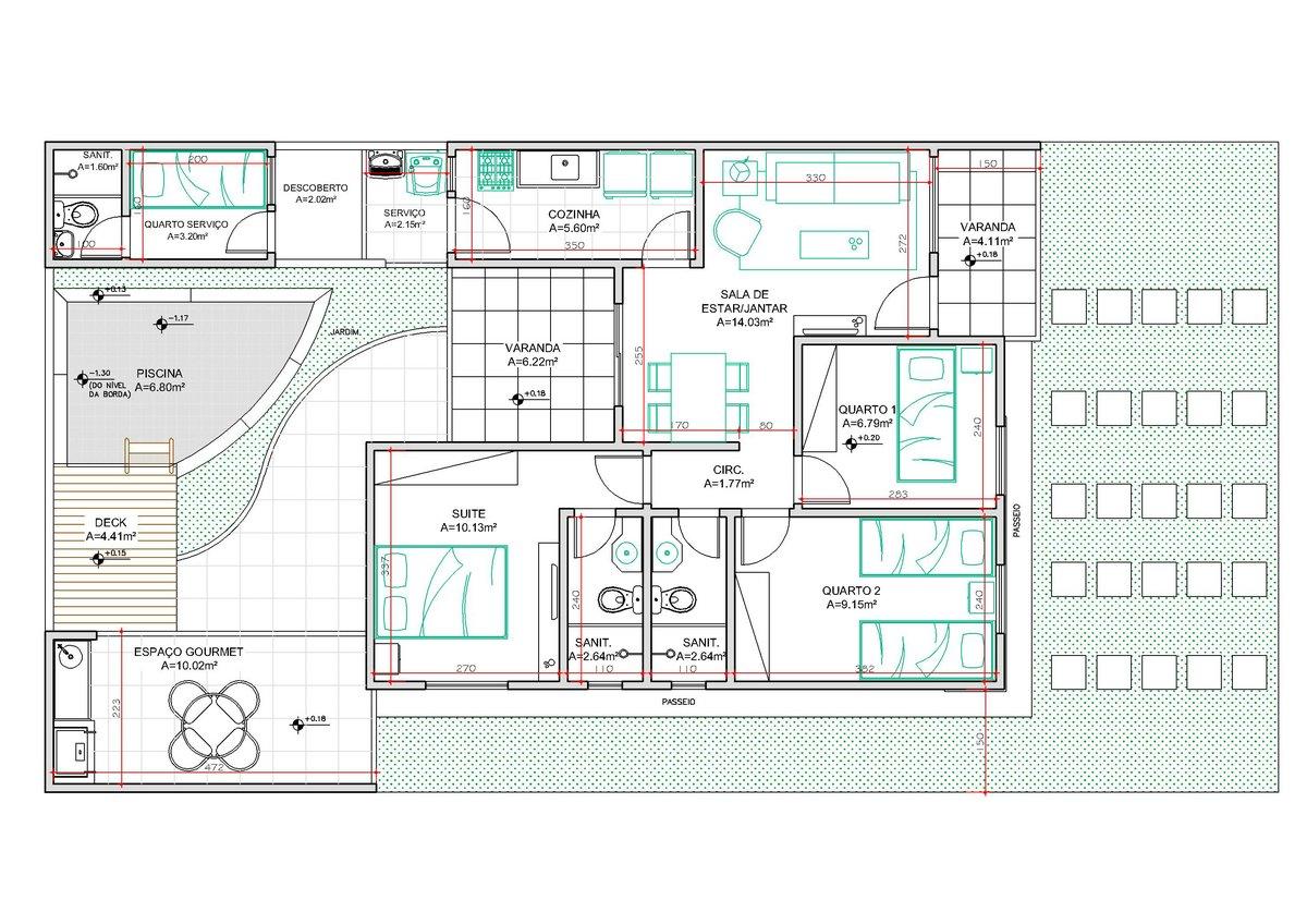 Planta De Casa 3 Quartos E Garagem Com Piscina Vale O Clique