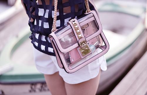 05843c3a5 Bolsa transparente com rosa - Vale o Clique!