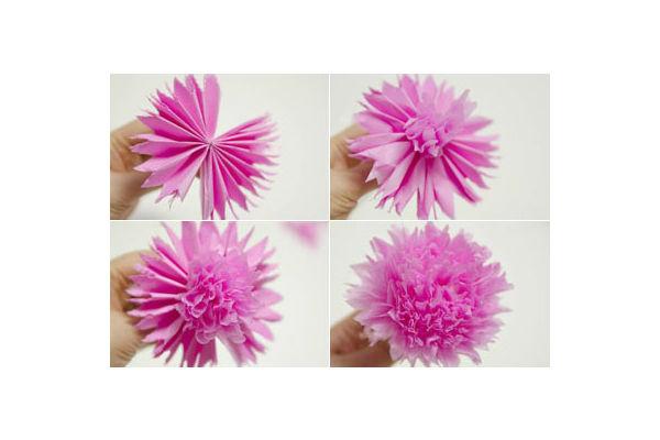 Arranjo de flores de papel crepom 2 Vale o Clique! -> Decoração De Papel Crepom Como Fazer