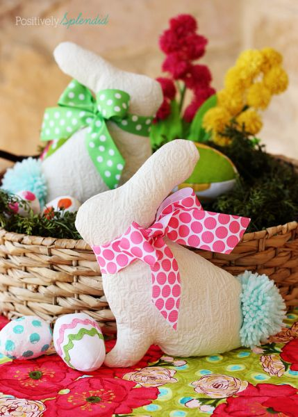 Agrade muito com coelho da Páscoa de tecido (Foto: positivelysplendid.com)