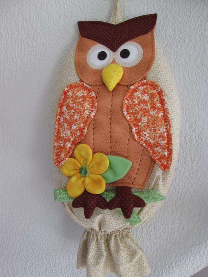 puxa saco coruja e flor