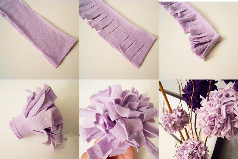 como fazer flores com tecido