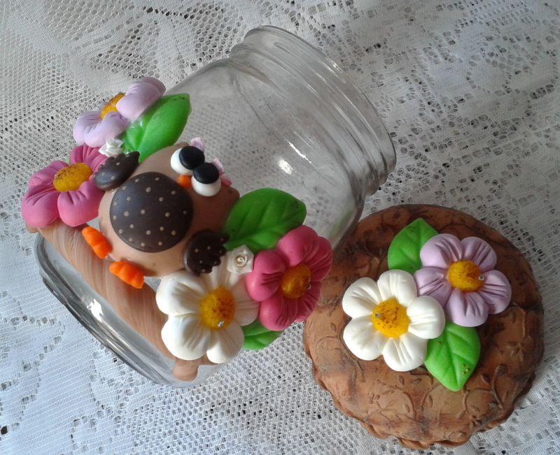 decoração de pote de vidro com coruja