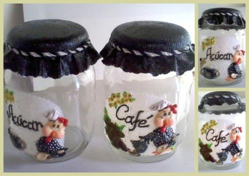 decoração de pote de vidro com aplicação