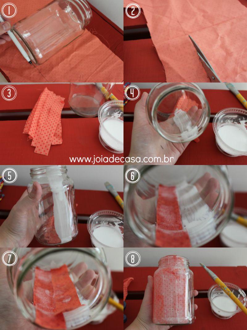decoração de pote de vidro com tecido