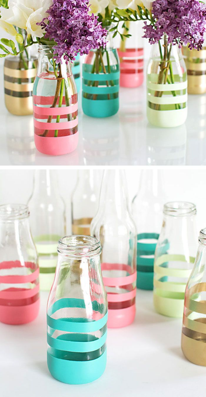 garrafa de vidro com fita adesiva