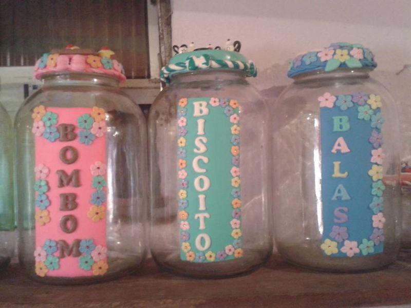 decoração de pote de vidro com bisucit