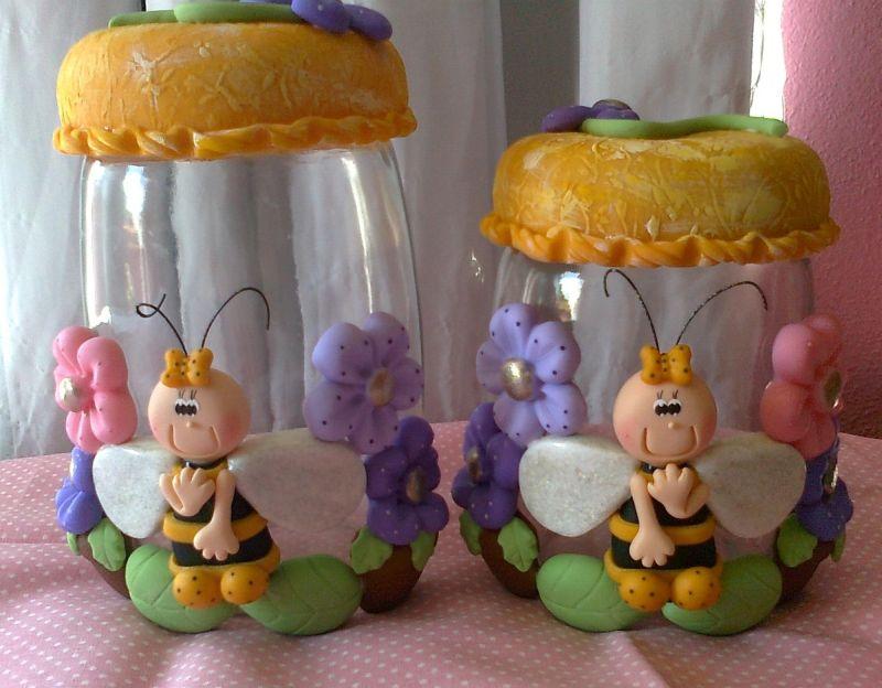 decoração de pote de vidro com animais