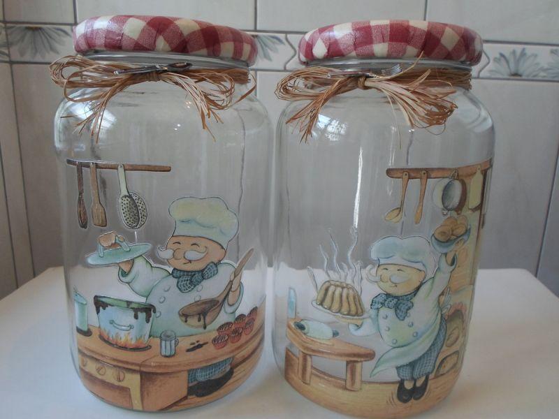 decoração de pote de vidro com sisal