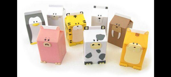 artesanato de caixa de leite animais