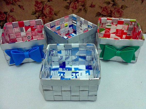 artesanato de caixa de leite cesta
