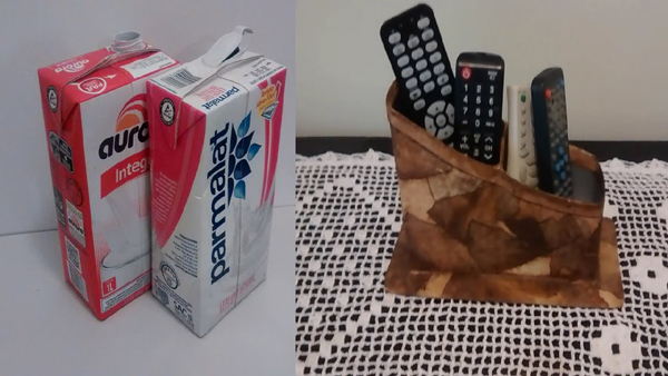 artesanato de caixa de leite porta controle