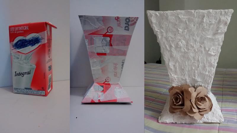 artesanato de caixa de leite vasos