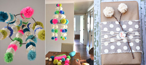 pompom com lã no decor